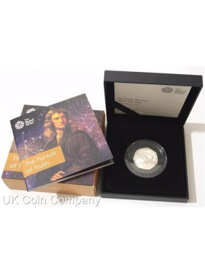 2017 Isaac Newton Silver Proof Fifty Pence Coin Brand New Royal Mint Boxed And Certified